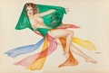 Pin-up and Glamour Art, JOSEPH F. DE MARTINI (American, b. 1927). Salome. Pencil andwatercolor on board. 20 x 30 in.. Signed lower right. ...