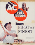 Transportation:Automobilia, Original 1951 AC Fuel Pump Advertising Poster Featuring Babe Ruth....