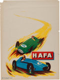 Advertising:Gas & Oil, Original 1950s HAFA Motor Racing Advertising Poster. ...