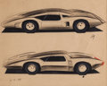 Transportation, 1975 Mid-Engine Corvette Studio Styling Drawing...