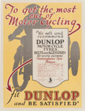 Advertising:Signs, Rare Original 1920s British Dunlop Tires Pricing AdvertisingPoster. ...