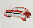 Transportation:Automobilia, 1950s Studio Styling Rendering Of Futuristic Red Car. ...