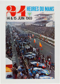 Transportation:Automobilia, Original Event Poster for the 1969 24 Heures Du Mans. ...