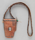 American Indian Art:Jewelry and Silverwork, A NAVAJO LEATHER MEDICINE POUCH. c. 1940...