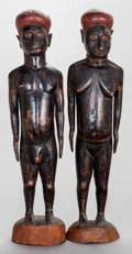 Tribal Art, Solomon Island (Melanesia). Pair of large figures . Wood, pigment.Heights: 22 inches each... (Total: 2 Items)