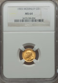 Commemorative Gold: , 1903 G$1 Louisiana Purchase/McKinley MS64 NGC. NGC Census:(508/888). PCGS Population (861/1089). Mintage: 17,500. Numismed...