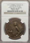 Betts Medals, 1739 Admiral Vernon Medal, Porto Bello, Vernon Alone AU55 NGC.Betts-198, Adams-Chao PBv-42-RR, R.5....