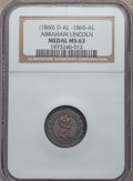 U.S. Presidents & Statesmen, (1860) Abraham Lincoln Campaign Medal MS63 NGC. DeWitt-AL-1860-74.Silver, 19 mm. Obverse: beardless head and shoulders ...