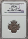 Civil War Merchants, Jas. Brennan Stamps, New York, New York -- Obverse Planchet Flaw --NGC Details, Unc., Fuld-NY630I-1a; 1863 Willard & Jackson,...(Total: 5 tokens)