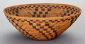 American Indian Art:Baskets, A LARGE YOKUTS POLYCHROME COILED BOWL. c. 1890. ...