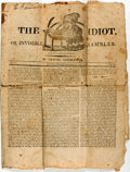 Books:Americana & American History, Samuel Simpleton. The Idiot; Or Invisible Rambler, No. 36,1818. Quarto. Folding creases, some with separation. ...