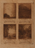 Books:Prints & Leaves, A.J. Millar. Original Etching. Depicts a series of four broadsidesfor the Annual Exhibition of the Silver Mine Group of Art...