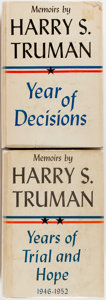 Books:Americana & American History, Harry S. Truman. INSCRIBED. Year of Decisions [and:]Years of Trial and Hope. Garden City: Doubleday, 19...(Total: 2 Items)