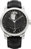 Timepieces:Wristwatch, Martin Braun Selene Steel Moon Phase Calendar With Meteorite Dial,Ref. FC44-M. ...