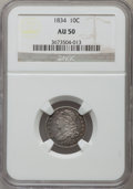 Bust Dimes: , 1834 10C Small 4 AU50 NGC. NGC Census: (14/234). PCGS Population(18/140). Mintage: 635,000. Numismedia Wsl. Price for prob...