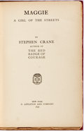 Books:Literature Pre-1900, Stephen Crane. Maggie: A Girl of the Streets. New York: D.Appleton, 1896. First edition, first printing. Publisher'...