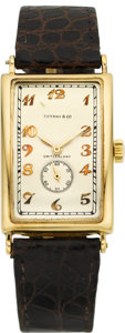 Timepieces:Wristwatch, Patek Philippe & Co. Rare Early Large Gold Rectangular Wristwatch For Tiffany & Co., circa 1930. ...