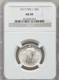 Standing Liberty Quarters: , 1917 25C Type One AU50 NGC. NGC Census: (50/1476). PCGS Population(76/2190). Mintage: 8,740,000. Numismedia Wsl. Price for...