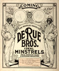 Miscellaneous:Broadside, [Music, Broadside]. Broadside Advertising The De Rue Bros, IdealMinstrels. Ca. 1917. Adhered to foam board backing. Measure...