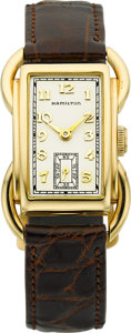 "Timepieces:Wristwatch, Hamilton Scarce Gold ""Bentley"" Wristwatch, circa 1938. ..."