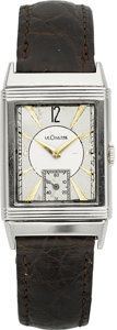 Timepieces:Wristwatch, LeCoultre Vintage Steel Reverso, circa 1930's. ...