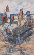 Paintings, CHARLES FOLKARD (American, 1878-1963). The Chest Had Been Washed Up on the Shores of Ephesus, The Children's Shakespeare b...