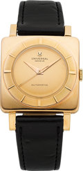 Timepieces:Wristwatch, Universal Geneve Pink Gold Vintage Automatic, circa 1950. ...
