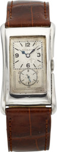 Timepieces:Wristwatch, Rolex Sterling Prince Brancard Ref. 1490, circa 1930's. ...