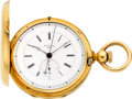 Timepieces:Pocket (pre 1900) , Jules Emmery, Sagne, Gold Two Train Independent Seconds With Quarter Second Jump, circa 1870. ...