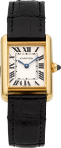 Timepieces:Wristwatch, Cartier Ref. 2442 Yellow Gold Tank Wristwatch. ...