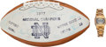 Football Collectibles:Balls, 1977 Notre Dame Fighting Irish Team Signed Football and Watch - National Championship Season! ...