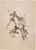 Boxing Collectibles:Memorabilia, 1971 Frazier vs. Ali Artist's Proof Etching by Neiman: Rounds 1 & 2....
