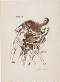 Boxing Collectibles:Memorabilia, 1971 Frazier vs. Ali Artist's Proof Etching by Neiman: Rounds 3 & 4....