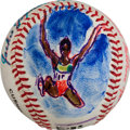 Baseball Collectibles:Balls, 1995 Jackie Joyner-Kersee Original Baseball Artwork by LeRoyNeiman....