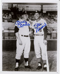 Baseball Collectibles:Photos, Mickey Mantle and Stan Musial Dual Signed Photograph....