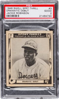 "Baseball Cards:Singles (1940-1949), 1948 Swell Sport Thrills ""Dramatic Debut"" Jackie Robinson #3 PSA Good 2...."