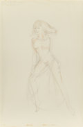 Paintings, ALBERTO VARGAS (American, 1896-1982). Blonde with Flying Hair, preliminary sketch, circa 1972. Pencil on paper. 28 x 18....