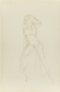 ALBERTO VARGAS (American, 1896-1982) Blonde with Flying Hair, preliminary sketch, circa 1972 Pencil