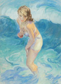 Pin-up and Glamour Art, GUY HOFF (American, 1889-1962). Pin-Up Standing in theWaves, 1952. Pastel on board. 37.5 x 28 in.. Signed and datedlow...