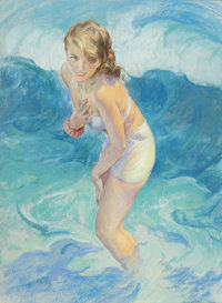 GUY HOFF (American, 1889-1962) Pin-Up Standing in the Waves, 1952 Pastel on board 37.5 x 28 in