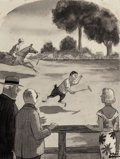 """Mainstream Illustration, CHARLES SAMUEL ADDAMS (American, 1912-1988). """"Be the Best Backin the Business if He Could Keep His Mind on the Game,"""" pos..."""
