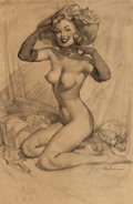 Pin-up and Glamour Art, GIL ELVGREN (American, 1914-1980). Nude Pin-Up with Bonnet.Pencil on vellum. 22 x 14 in. (image). Signed lower right. ...