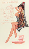 Pin-up and Glamour Art, BILL RANDALL (American, b. 1911). Plaza Des Toros, probablecalendar illustration, 1961. Pen, watercolor and gouache on ...