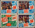 "Movie Posters:Adventure, The Last Days of Pompeii/She Combo (RKO, R-1948). Title Lobby Cardand Lobby Cards (3) (11"" X 14""). Adventure.. ... (Total: 4 Items)"