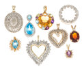 Estate Jewelry:Pendants and Lockets, Diamond, Multi-Stone, Gold Pendants. ... (Total: 9 Items)