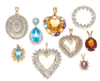 Diamond, Multi-Stone, Gold Pendants