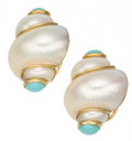 Estate Jewelry:Boxes, Turbo Shell, Turquoise, Gold Earrings, MAZ. ...