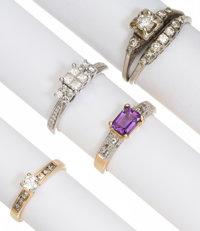 Diamond, Amethyst, Gold Rings
