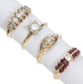 Estate Jewelry:Rings, Diamond, Ruby, Gold Rings. ... (Total: 4 Items)
