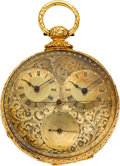Timepieces:Pocket (pre 1900) , M.J. Tobias 18k Gold Captain's Watch, circa 1860's. ...